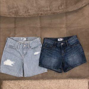 2 Girls OLD NAVY stretch Adj Waist Denim Shorts